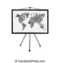 flip chart with map - flip chart with drawing world map