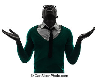african black man looking up complaigning silhouette