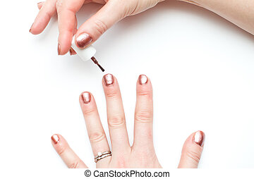ordinary woman with non perfect hands painting nails