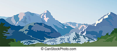 Mountains - Mountain landscape Snow-capped peaks on a sunny...