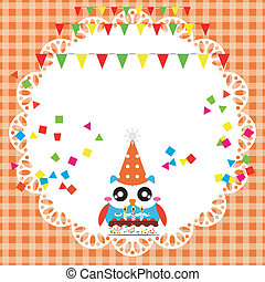 Birthday party card with cute owl