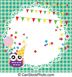 Birthday party card with cute owl - Vector birthday party...