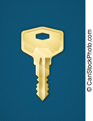 Golden key on blue background. Security comcept....