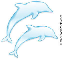 Vector Dolphins silhouette of water