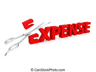 Scissor and expense - Rendered artwork with white background