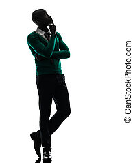 african black man thinking pensive silhouette - one african...