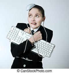 woman computer problems - studio shot portrait of one...
