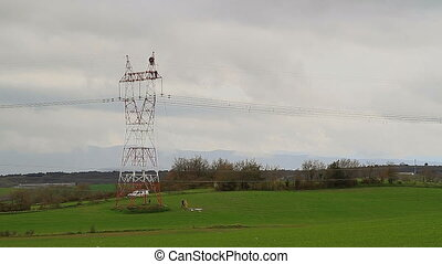 electrical tower - Workers in electrical tower