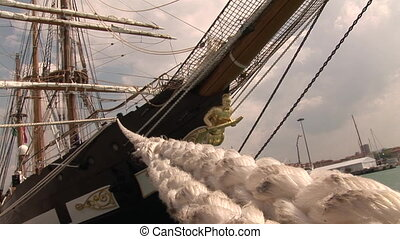 Bow of a sailing ship - Bow of the Palinuro, a barkentine...