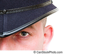 british policeman close up woth copyspace