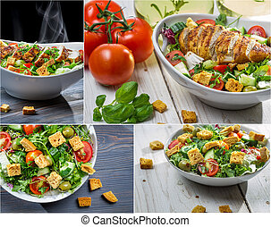 Healthy salad with chicken and fresh vegetables