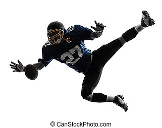 american football player man catching receiving silhouette -...