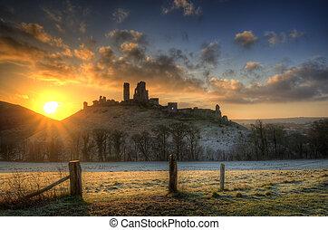 Corfe Castle Winter sunrise. - Winter sunrise over Corfe...