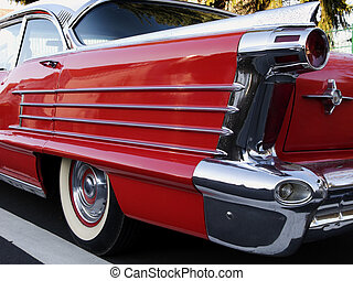 vintage car - red vintage collector's car close up with...