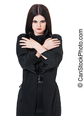Wicked witch - Wicked young witch crossed hands isolated on...