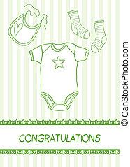 New baby arrival card with clothes, vector illustration