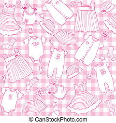 Baby girl clothes seamless pattern, vector illustration