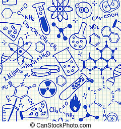 Chemical doodles seamless pattern - Chemical doodles on...