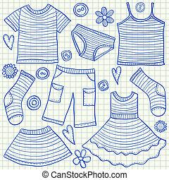 Children clothes doodles
