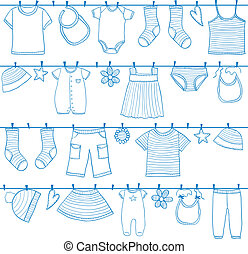 Children clothes on clothesline - Children and baby clothes...