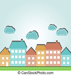 Cartoon city - Illustration of cartoon city houses and...