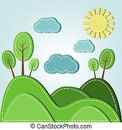 Hilly landscape - Illustration of spring hilly landscape...