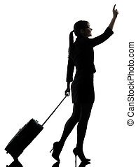 business woman traveling walking hailing silhouette - one...
