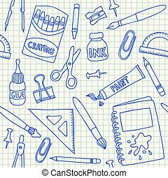 School supplies seamless pattern - School supplies doodles...