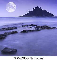 St Michaels Mount Bay Marazion pre-dawn long exposure with...