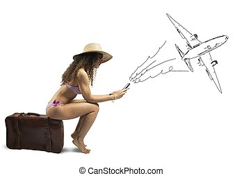 Girl ready to travel - Concept of girl ready to travel with...