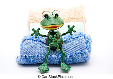 Frog with washcloth