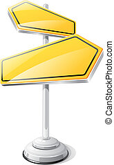 Yellow road sign isolated design template