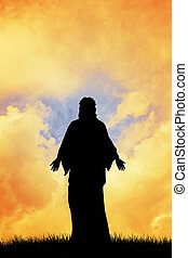 Jesus Christ - illustration of Jesus Christ silhouette at...
