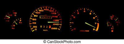 Car dashboard gages in the dark - Car dashboard in the dark...
