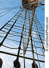 Mast and rigging of an old sailing vessel - Mast and rigging...