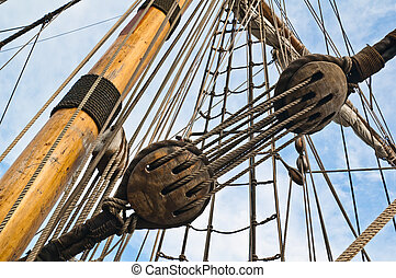 Mast and rigging of an old sailing vessel
