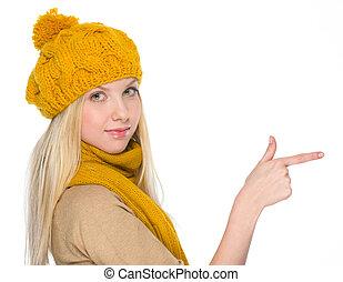 menina, Outono, roupas, apontar, cópia, espaço