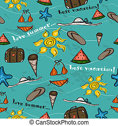 Seamless texture with sea vacation elements Vector...