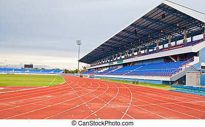 Stadium main stand and runing track