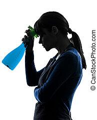 woman maid housework sprayer silhouette