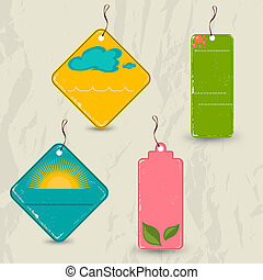 Set of 4 retro summer tags. Vector illustration EPS10