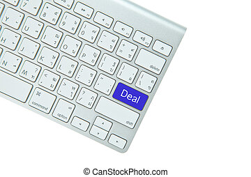 Blue deal button on computer keyboard isolated on white background