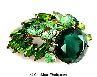 Brooch - emerald brooch isolated on white