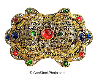Brooch - Antique brooch isolated on white