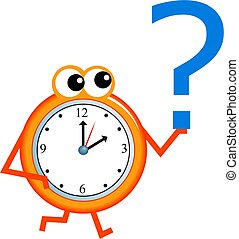 question time - Mr time holding a question mark symbol in...