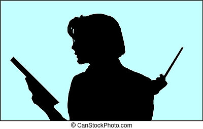 teacher with book in the class silhouette