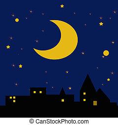 starry starry night - moon and stars in dark night sky...