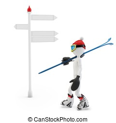 3D man with skis following a direction isolated on white...