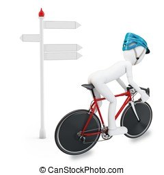 3D man with bike following a direction isolated on white...