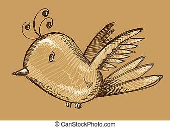 Cute Bird Sketch Doodle Vector
